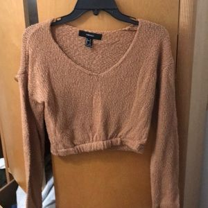 Brown Forever 21 Crop Sweater